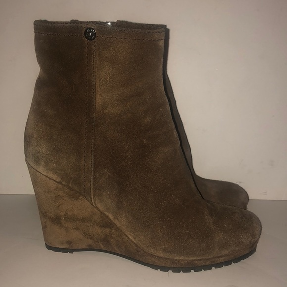 ead37d077e3 Prada wedge suede ankle boots size 35 5 brown